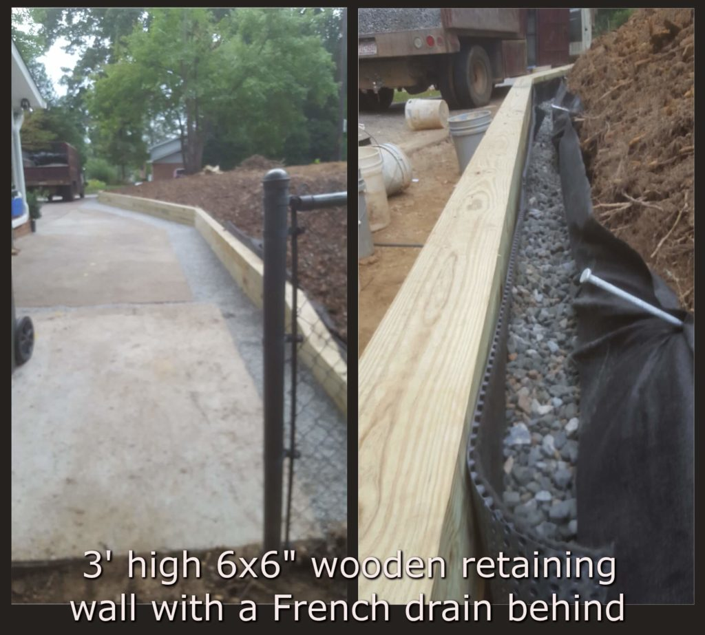 Retaining walls in and around fayetteville and southern pines for Wall drainage system